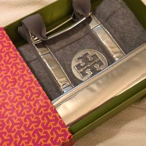 Tory Burch Gray Flannel Metallic Tote